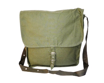Vintage Military Canvas Army Bag, USSR Cold War Collectible, teen bag, school bag, accessory bag, green canvas bag. Soviet army bag .