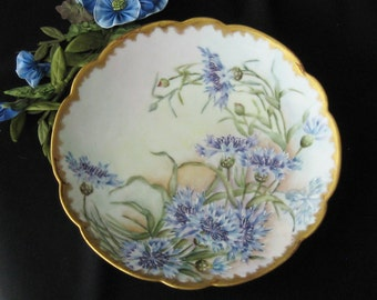 Antique Hand Painted Plate - Limoges Style - Blue Aster Flowers - Cabnet Plate