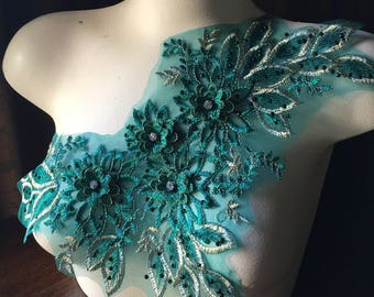Emerald Teal Green & Gold 3D Lace Applique #1 Rhinestone Beaded for Lyrical Dance, Ballroom Dance, Costumes, Garments