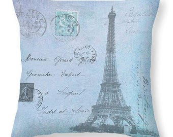 Eiffel Tower, Paris France French Style Pillow Cover, Blue Grey, Bedroom Decor, Home Decor, Decorative Pillow