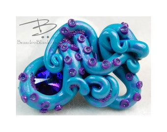 Tentacle Hair Clip in Teal and Purple 1 - free US Shipping!