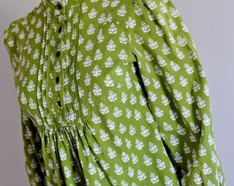 """LAURA ASHLEY ARCHIVE 1970's style olive green cotton screen printed smock tunic dress top blouse uk 8 uk 6 30-32"""" bust petite"""