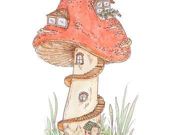 Cute Mushroom House Watercolour Illustration Print A5