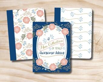 Set of 3 field notebooks Notepads Vintage Floral
