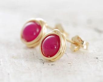 Bright Pink Post Earrings, Wire Wrapped Gold Gemstone Earrings, aubepine