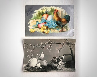 2 Easter Greetings Postcards Old Vintage Photograph Chickens Rooster Eggs Chicks 1930's 1960's