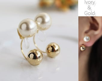 Gold Pearl Clip On,Double Pearl Clip On,Invisible Pearl Gold,Ear Jacket Clip On,Ivory Pearl Gold,Non Pierced Earrings,Ear Jacket Pearl,Ivory