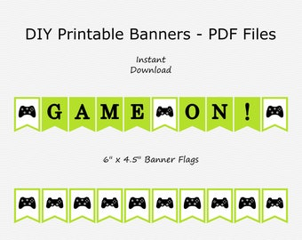 Game On! Banner - Lime Green & Black - Game Controller - Gaming Birthday Party - PRINTABLE - INSTANT DOWNLOAD