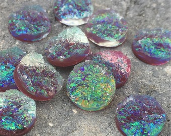 12mm faux druzy cabochons in dark purple and green