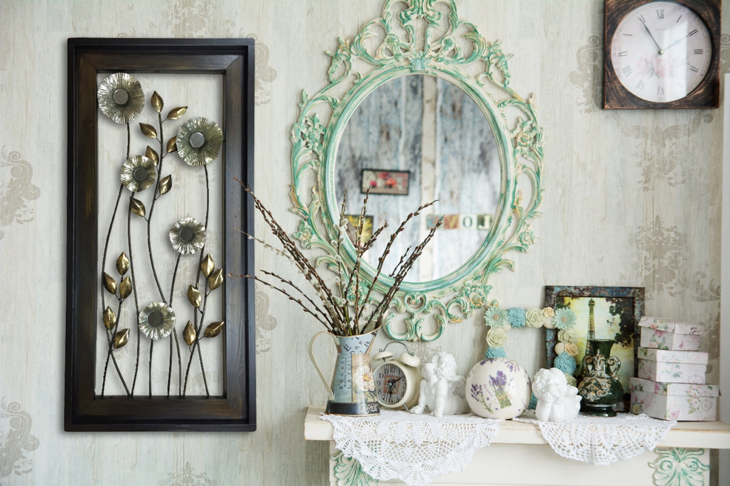 Gold Metal Wall Mirror: METAL Wall ART Wood Framed FLOWERS Mirrors Home Decor