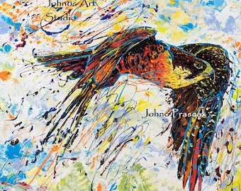 Bird wall art, man cave art, Peregrine Falcon art, Pittsburgh artist, by Johno Prascak, Johnos Art Studio