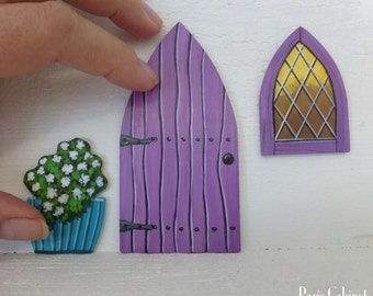 Set of Lavender Door Window & Flower Pot Hand Painted Art Fairy Door Stained Glass Window Miniature Magic Door Art Acrylic Painting on Wood