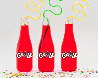 10 or More, Grease Movie Soda Bottles, Plastic Soda Bottles, Grease Party Drink Bottles, Grease Soda Bottle SD001