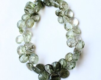Top Quality Natural Green Rutilated Quartz 10x10-11x11 MM Faceted Heart Shape 9 Inch Strand