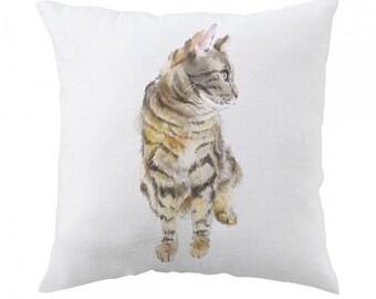 Tabby Cat Pillow - Nursery Decor - Grey Cat Art - Tabby Cat Design - Grey Cat Art - Tabby Cat Art - Cat Pillow
