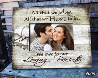 """Wedding OWE: 8""""x10"""" Holds 4""""x6"""" Bridal Gift, Mom and Dad, Bridal Wedding Frame, Wedding Gifts for Parents, wedding gift, Thank you"""