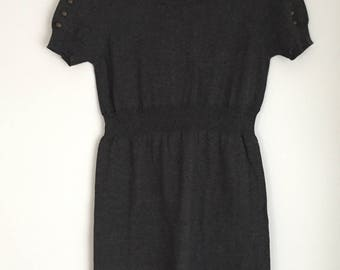 Romeo & Juliet Couture Short Mini Dress Grey Knit Brass Studs Embellishments On Sleeves Fitted S