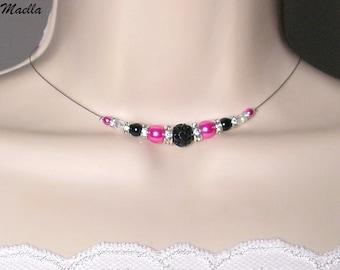 Bridal rhinestone necklace wedding necklace black fuchsia - Romantica Collection Lily jewelry wedding necklace bride, bridal necklace wedding