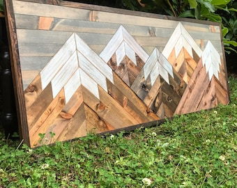 Medium Five Rustic Wood Mountains Wall Art