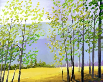 Tree painting PRINT acrylic painting of the forest trees and mountains GICLEE 13x13