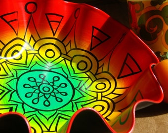 Rasta Bowl - Hand Painted Geometric Mandala in Red / Green / Yellow on Recycled Vinyl Record - Psychedelic Geometric Bohemian Home Decor