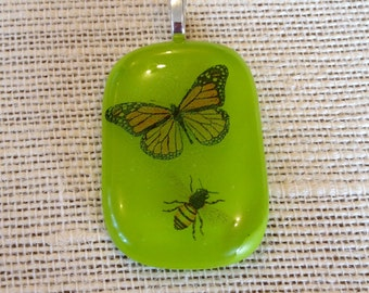 Handmade jewelry handmade glass pendant butterfly and bee glass