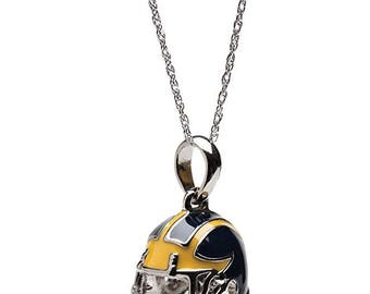 University of Michigan Necklace | UM Wolverines Football Helmet Pendant with Chain | Officially Licensed University of Michigan Jewelry
