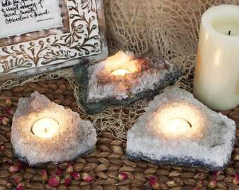 Amethyst Cluster Candle Holder - Gray Tones - B Grade - Crystal Decor - Metaphysical - Chakra Crystals (RK151B2)