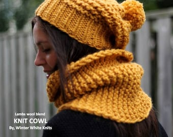 Knit cowl, chunky knit cowl, knit winter cowl, knit winter scarf, knit neckwarmer, mustard cowl, mustard knit scarf, soft and cozy scarf