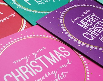 Pack of 6 Gold Foil Christmas Cards