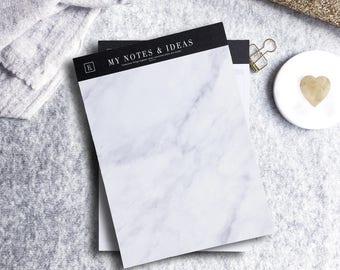 My Notes & Ideas | Marble Notepad | A5 | Deskpad