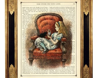 Alice in Wonderland Armchair black Cat Kitten - Vintage Victorian Book Page Art Print Steampunk Color Colour Poster