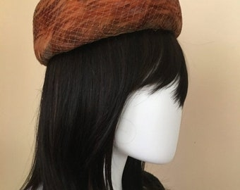 SPRING SALE Vintage 1950s/1960s Feather Pillbox Hats by Gertrude Genuine Pheasant Feathers