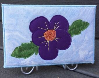 Purple Violet Flower - Fabric Postcard - Small Quilt Art - Greeting Card - Fiber Art - Flower Lover - Home Decor -  Mom Gift - Gift for Her