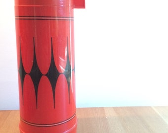 Vintage Red and Black Thermos