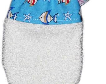 Kids washcloth fish (age 3) - Child's washcloth - Baby washcloth