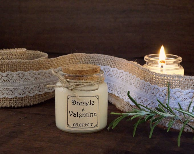 Country wedding, Lid cork candle 3oz, Wedding Favors country chic, Custom Fragrance and label, Glass jar with lid cork, Scented Bio Candle