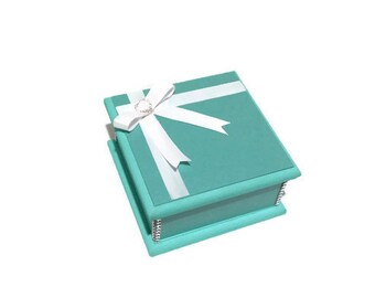 Elegant 'Little Turquoise' Keepsake Box, Trinket Box, Treasure Box, Jewellery Box, Wedding Box, Bridal Box, Memory Box, Wooden Box
