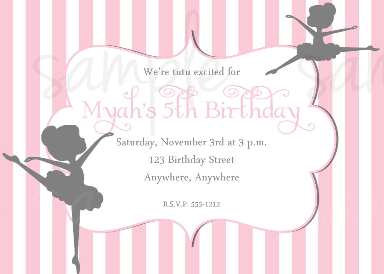 Ballerina Birthday Invitation Quotes