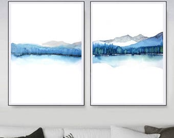 Set of Two Prints, Duo Set Landscape Abstract Watercolor Painting, Blue Art Landscape, Colorful Painting, Minimal Art, Calming Painting Art
