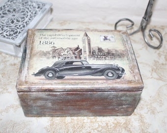 Wooden box. Retro car. Vintage style. Shabby. Caskets for storing. Retro style.