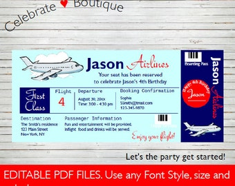 Airline Ticket Invitation Birthday Party Invitation ~ Baby Shower Airplane Instant Download Boarding Pass Editable Invitation BD21