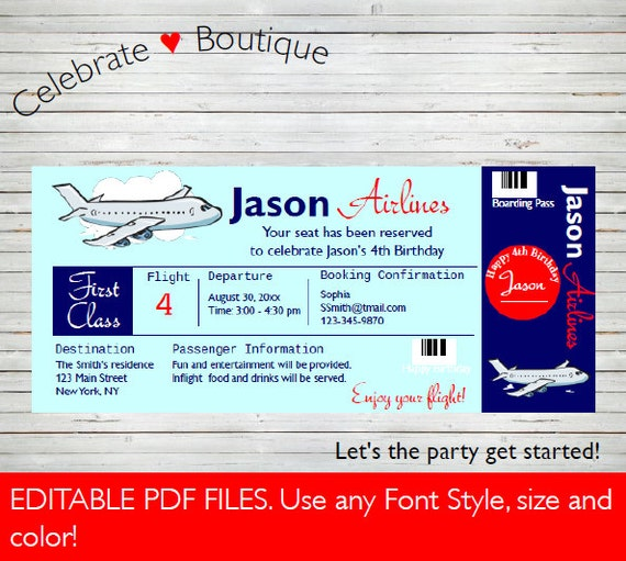 Airplane Ticket Boarding Pass Birthday Invitation: Airline Ticket Invitation Birthday Party Invitation Baby