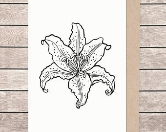A5 floral card, A5 card, A5 greeting card, illustrated card, blank card, card and envelope, lilly card, lilly flower