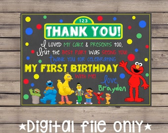 Sesame Street Thank You Card / Sesame Street Birthday Thank You /Sesame Street Chalkboard Thank You /Sesame Street Chalkboard Invitation