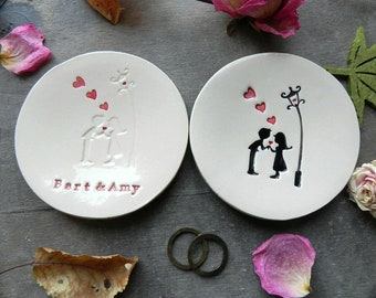 Personalized Wedding Ring Holder Love Couple and Hearts Ceramic Ring Dish, Retro Ring Holder with Candelabra Custom Ring Bearer, Retro Style