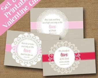 Doily Valentines   God's Love Valentines   Scripture, Bible Verse Valentine Cards   DIY PRINTABLE   SET of 3 Designs   Instant Download