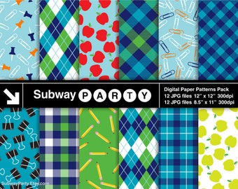 Back to School Digital Papers. Apples, Pencils, Paper Clips. Navy Blue Green Tartan Plaid & Argyle. 12x12 / 8.5x11 JPGs INSTANT DOWNLOAD