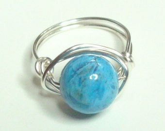 Crazy Lace Agate Blue Silver Plate  Handmade Wire Wrapped Ring
