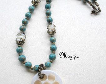 Boho Turquoise Necklace, Seashell Medallion Necklace